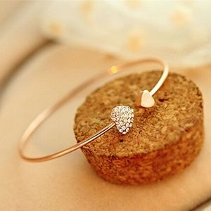 Jewelry - Gold Rhinestone Crystal Heart Cuff Bangle Bracelet